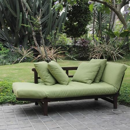 Delahey Studio Converting Outdoor Sofa Brown With Green Cushions