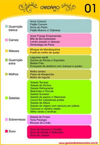 Cardapio Para Restaurantes Self Service Volume 1 Gr