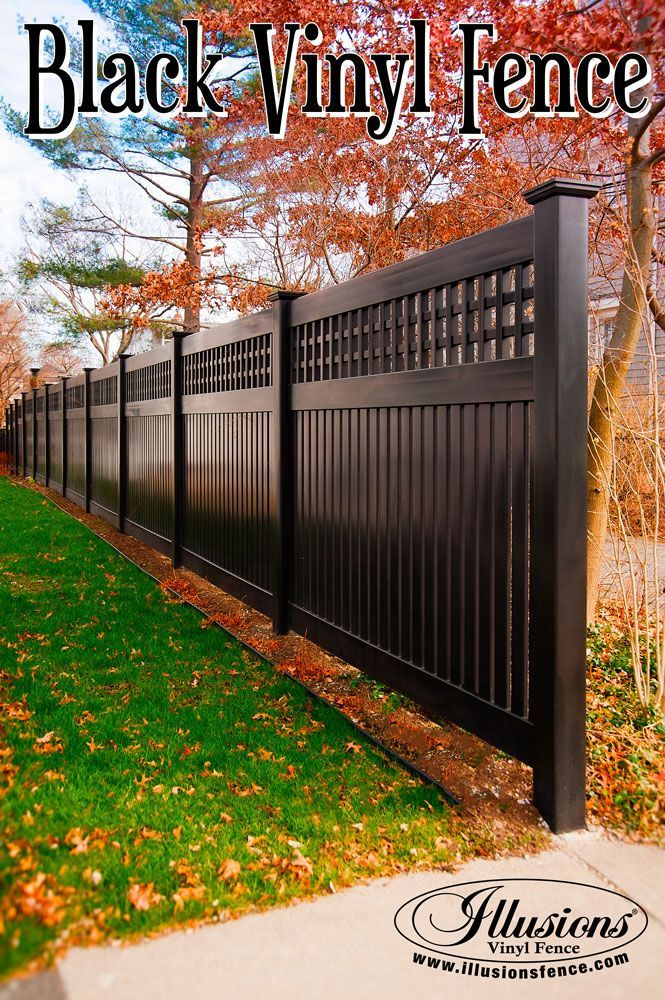 Black Custom Pvc Vinyl Semi Privacy Fence From Illusions Vinyl Fence Adds Amazing Character To Your Land Privacy Fence Designs Backyard Fences Front Yard Fence