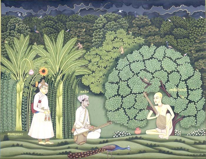 Tansen Singing Under A Tree Mughal Miniature Paintings