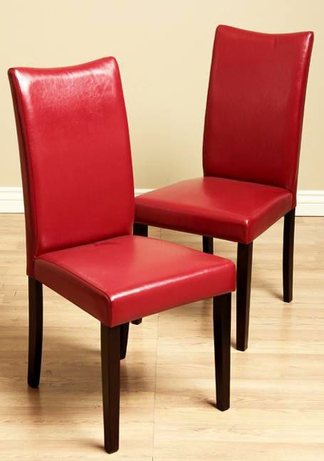 Dining Chairs Shino Red Bi Cast Leather