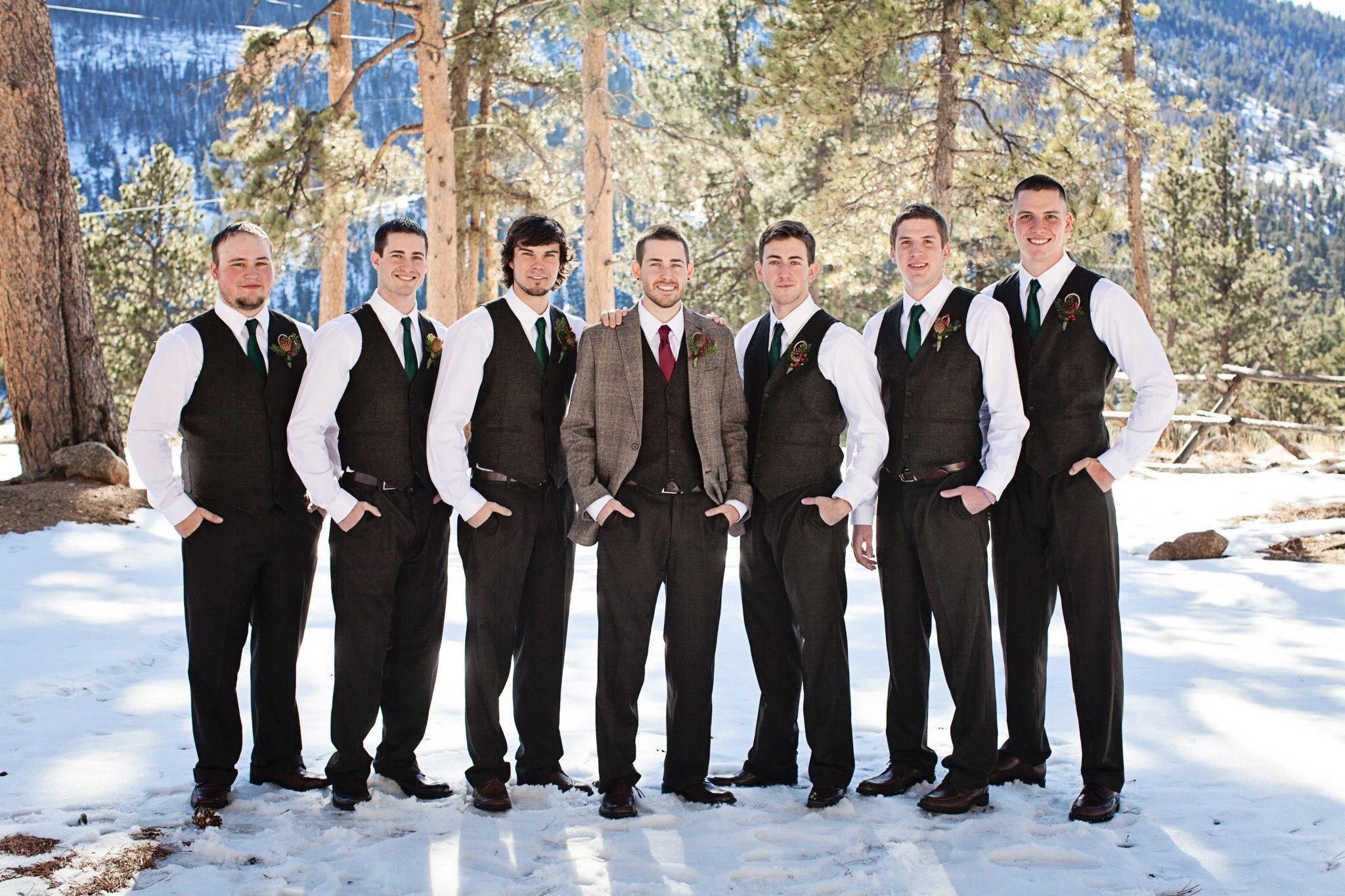 Colorado Winter Wedding Groomsmen Attire Tweed Fashion Brown
