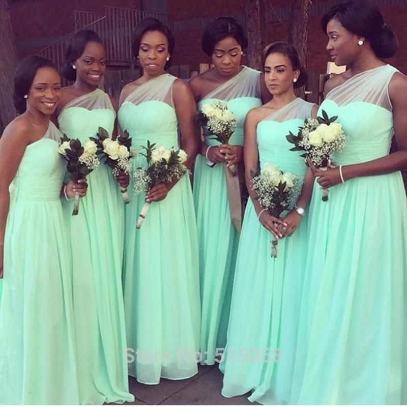 4ff5a441874 Hot Sale One Shoulder Chiffon Cheap Bridesmaid Dresses Long Floor Length  Formal Dress for Women Mint Green Wedding Party Gowns