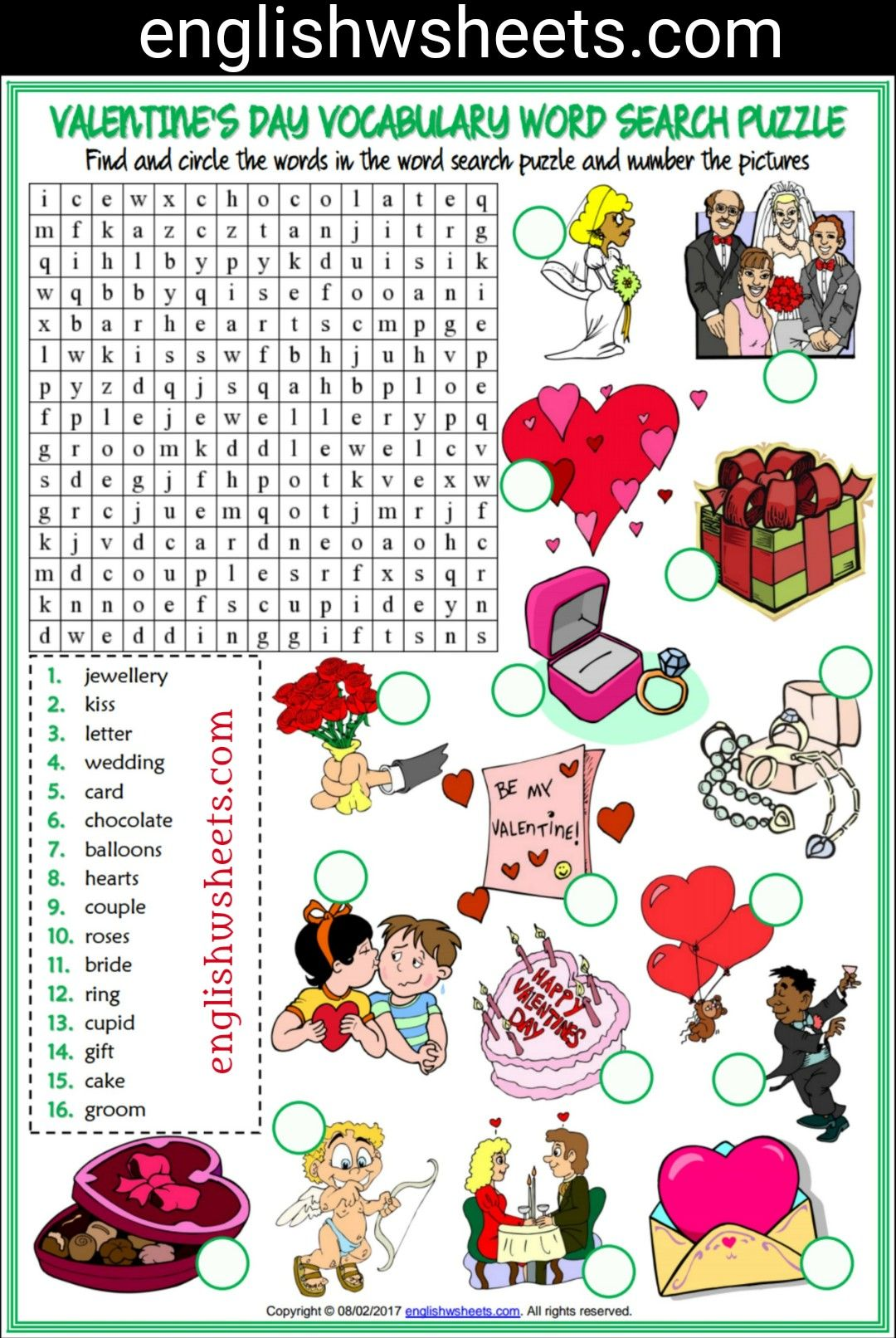Valentine S Day Esl Printable Word Search Puzzle Worksheet