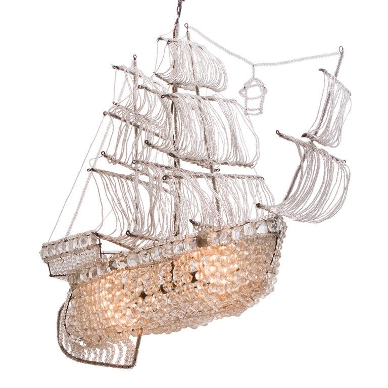 A Beaded Glass And Crystal Ship Form Chandelier By Bagues This Is