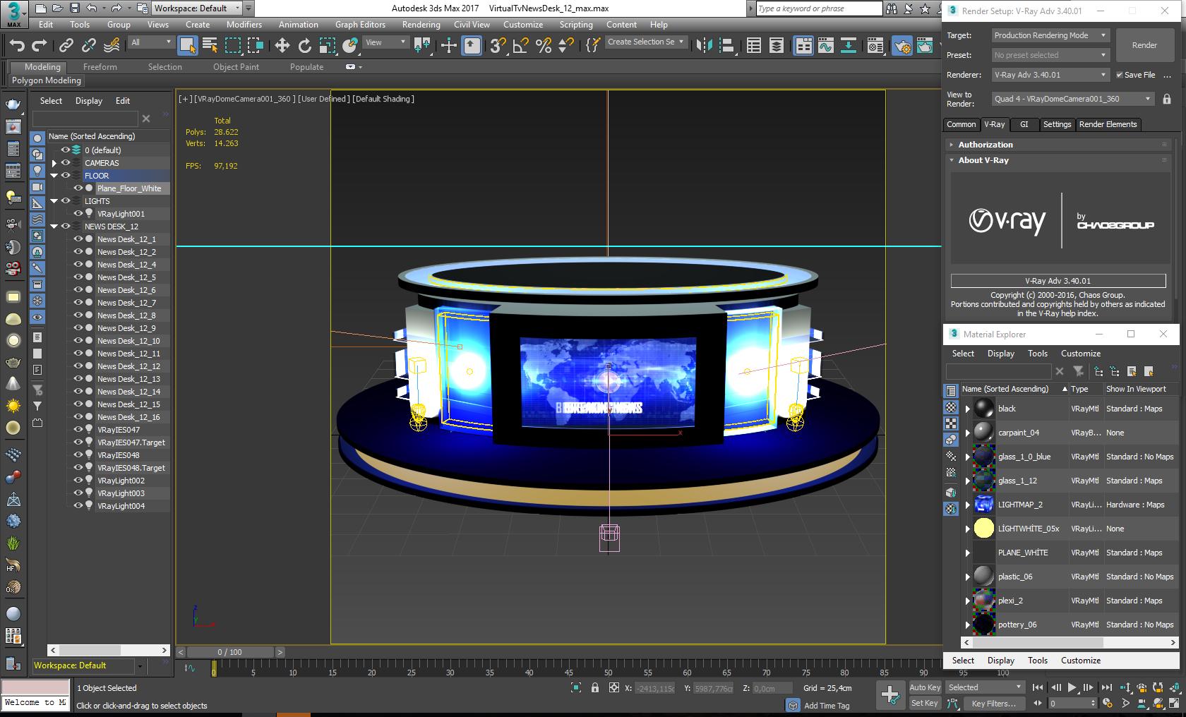 Virtual Studio News Desk Free Adobe After Effects Element 3d Template Mtc Tutorials Virtual Studio News Studio Studio Desk
