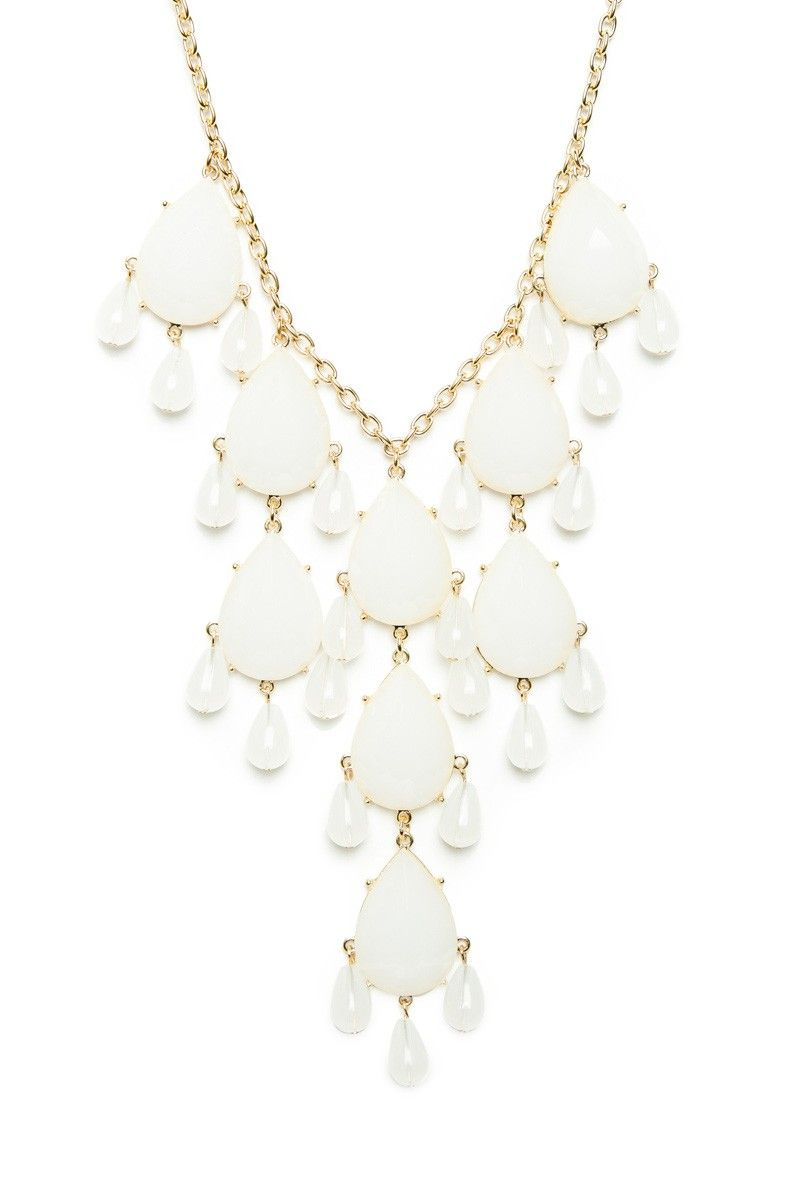 ShopSosie Style : Raindrop Necklace in White