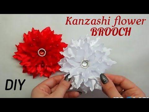 DIY ELEGANT KANZASHI FLOWER BROOCH / RIBBON FLOWERS TUTORIAL - YouTube #ribbonflower