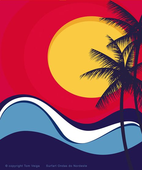 Como Uma Onda No Mar Surf Art Beach Illustration Hawaiian Art