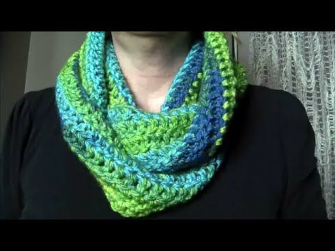 ♡ How To: Crochet Ribbed Infinity Scarf - YouTube | tejidos | Pinterest