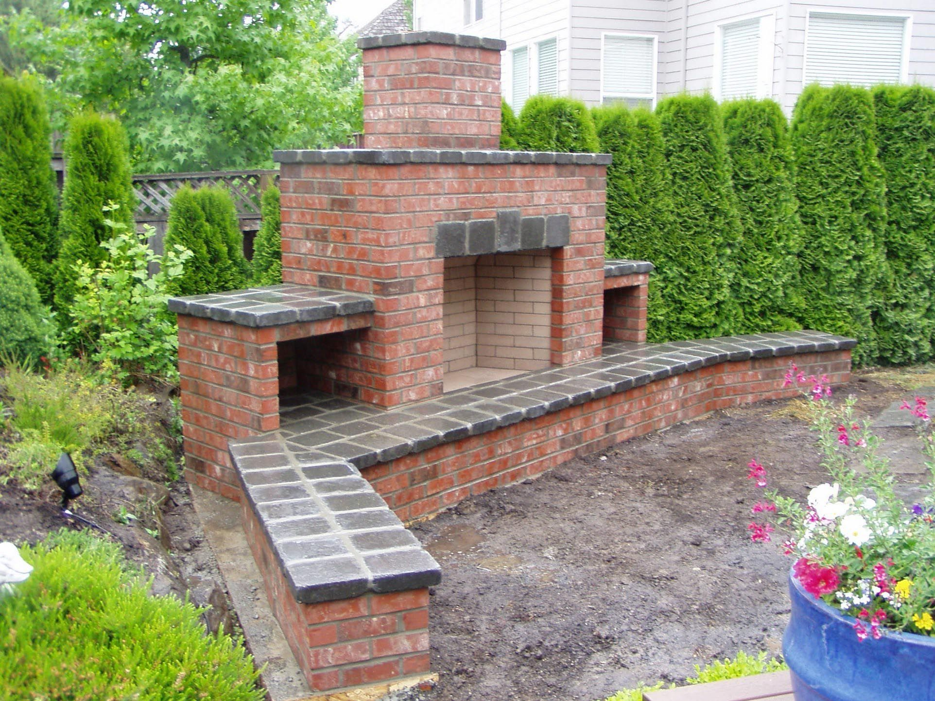 Red Brick Outdoor Fireplace In 2019