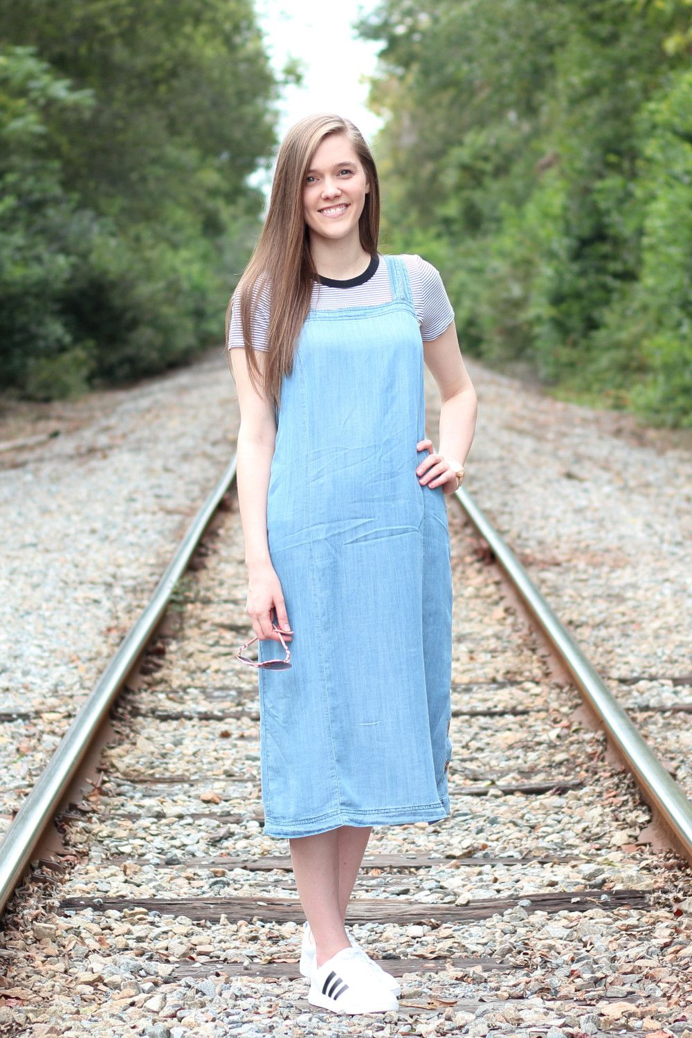b7f2c62740e Modest Casual Outfit Idea for Church  Denim Chambray Dress  Striped  Tee  Adidas White Sneakers  Summer Fall Style  Inspiration  Cute  Simple  Comfy  Pretty   ...