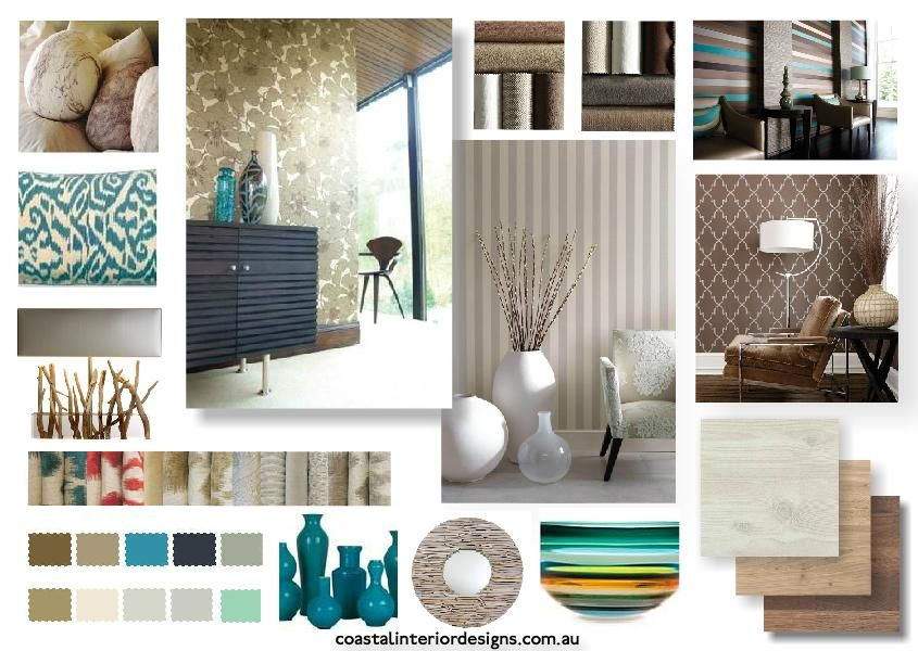 Coastal Interior Design Concept Mood Board Created Using