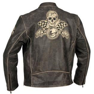 River Road Men's Vintage Racing Skull Graphix Leather Black Jacket