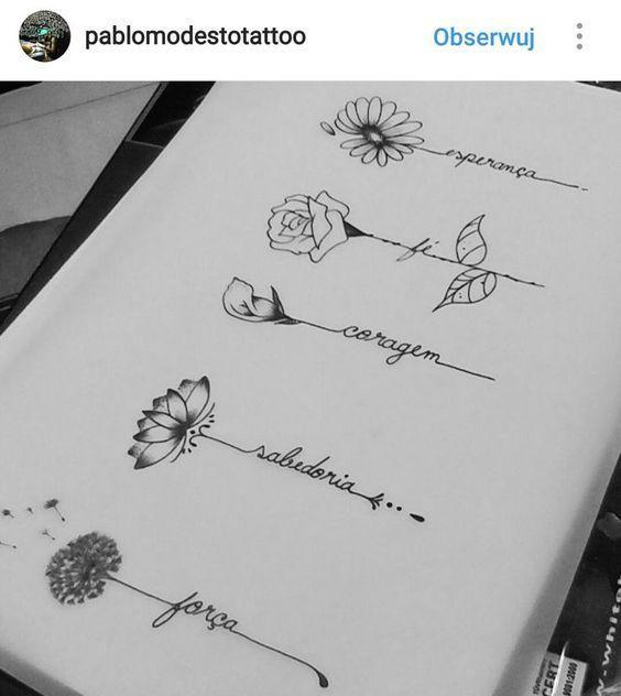 Usando i nomi del bambino e il mese del parto, i fiori adorano i #flowertattoos – disegni di tatuaggi floreali