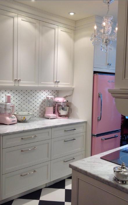 Pink Lemonade Retro Fridge in a beautiful kitchen with ...