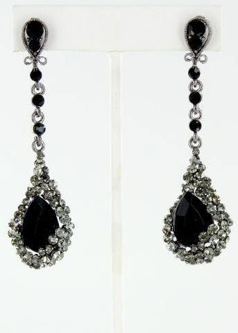Helen S Heart Je 4601 12 Gunmetal Jet Black Prom Earrings Online Theprom