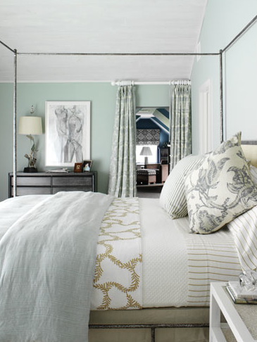 I love the blue green gray bedroom design with gorgeous blue green paint  color  black. Drab or Fab  Accent in Gold   Damask curtains  Paint colors and