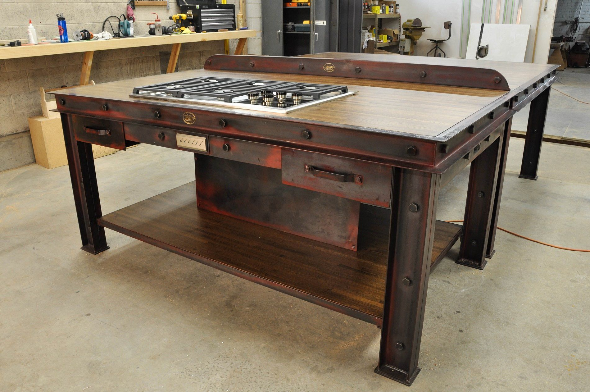 outstanding industrial kitchen island table | Vintage Industrial Kitchen Island | Industrial furniture ...