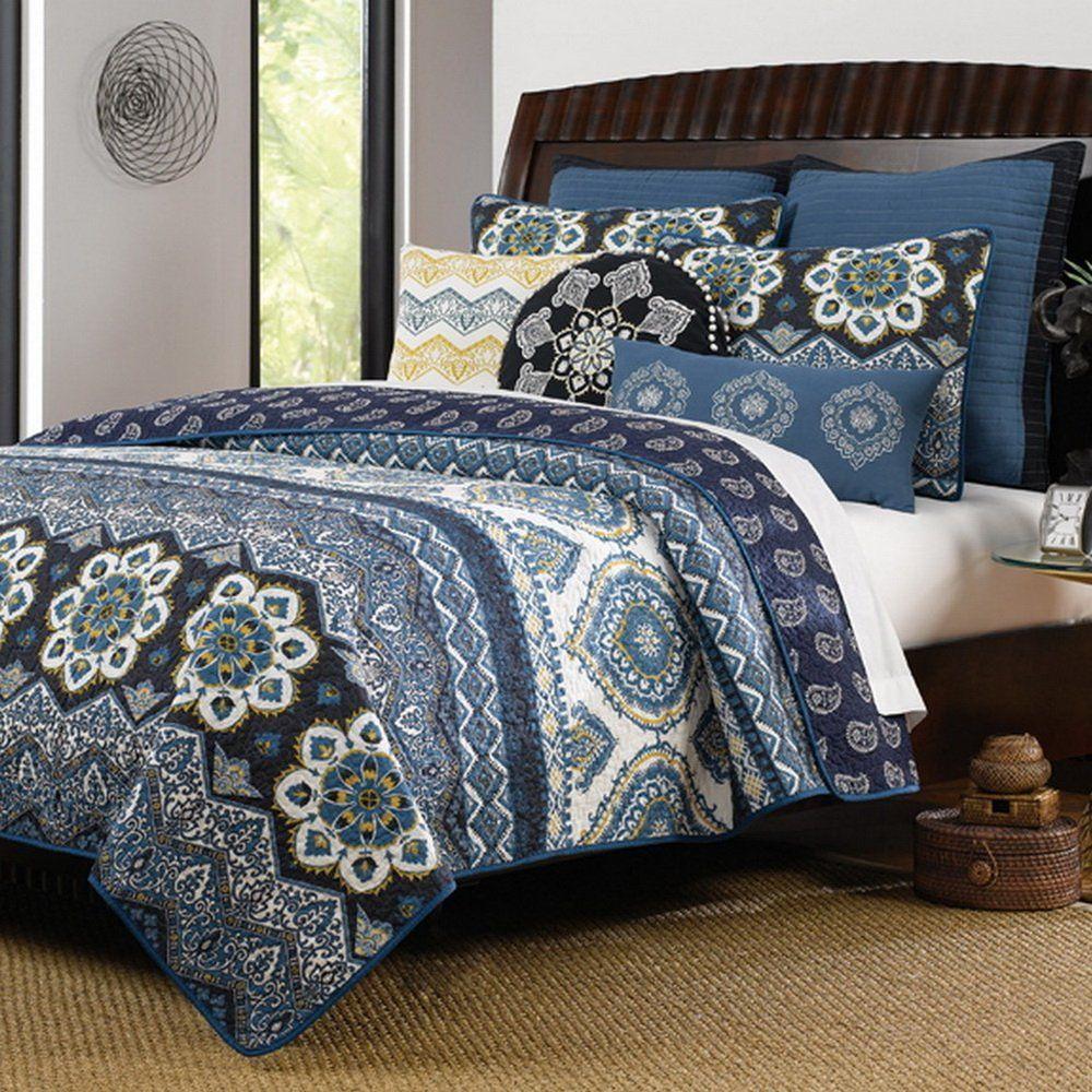 Navy Blue Cotton 3 Piece King Size Quilt Bedding Set Navy Blue Bedding Sets Quilt Sets Bedding Paisley Bedding