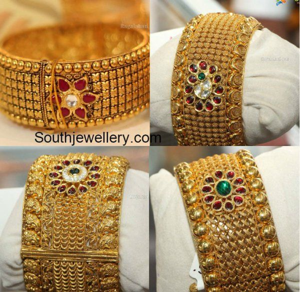 Antique Gold Broad Bangles photo Bangles jewelry designs
