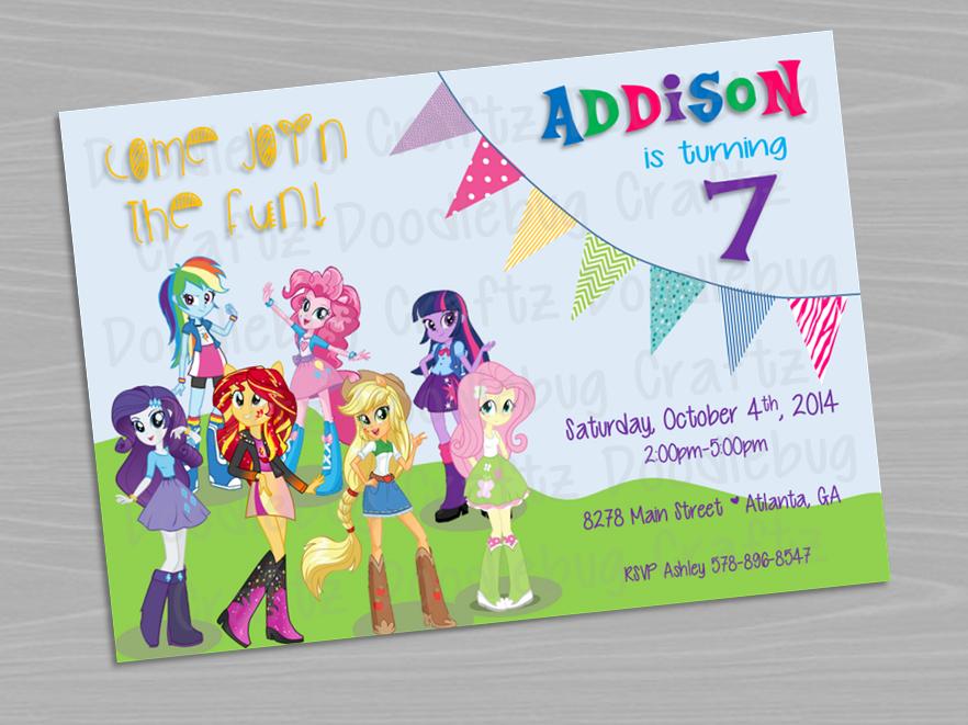 My Little Pony Equestria Girls Birthday Party Invitation