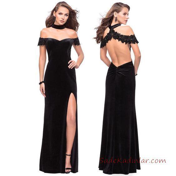 97c25ee8a3324 Siyah Abiye Elbise Modelleri Uzun Geniş V Yaka Yırtmaçlı Sırt Dekolteli  #eveningdress #abendkleider