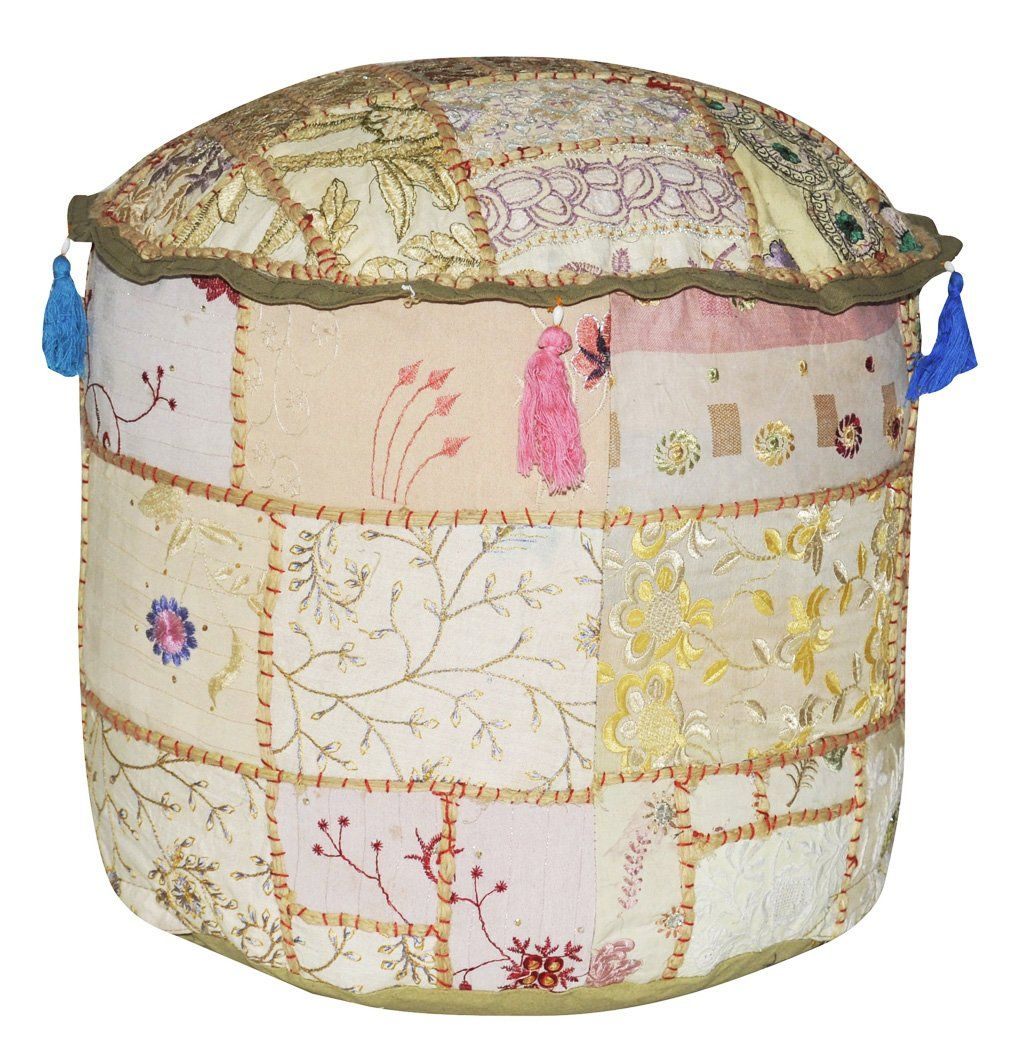 Ethnic Home Made Patchwork & Embroidery Design Cotton Round Ottoman Cover 18 x 18 x 14 Inch Beige Color