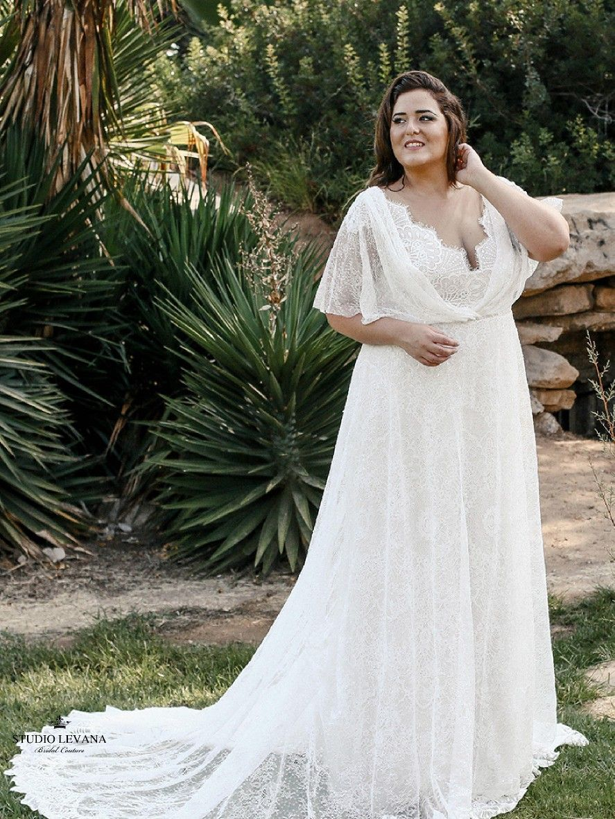 Kelly Plus Size Wedding Dress With Flutter Sleeves From Studio Levana Plus Wedding Dresses Couture Wedding Gowns Plus Size Wedding Gowns [ 1182 x 887 Pixel ]