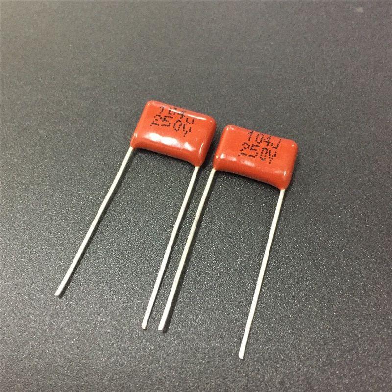 100pcs Cbb 104 250v 104j Cbb21 0 1uf 100nf P10 Metallized Polypropylene Film Capacitor Electronic Components Supplies Capacitors
