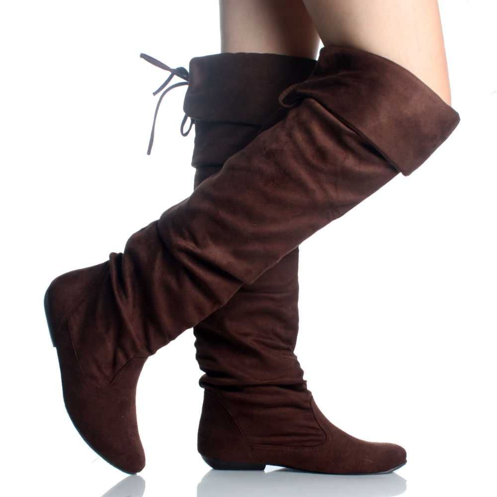 de43238fcf32 Brown Suede Slouch Scrunch Comfort Cute Flat Womens Thigh High Boots ...