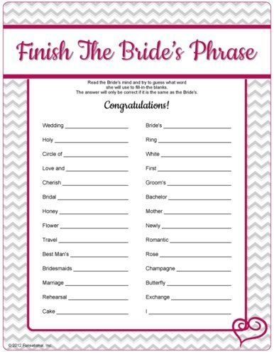 free printable bridal shower games i could come up with a better variation but i like it i think im pretty predictable so this would be fun
