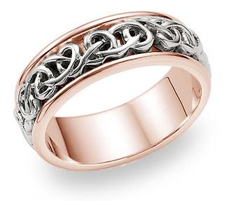 14K White and Rose Gold Celtic Knot Wedding Band oOo The Lord of