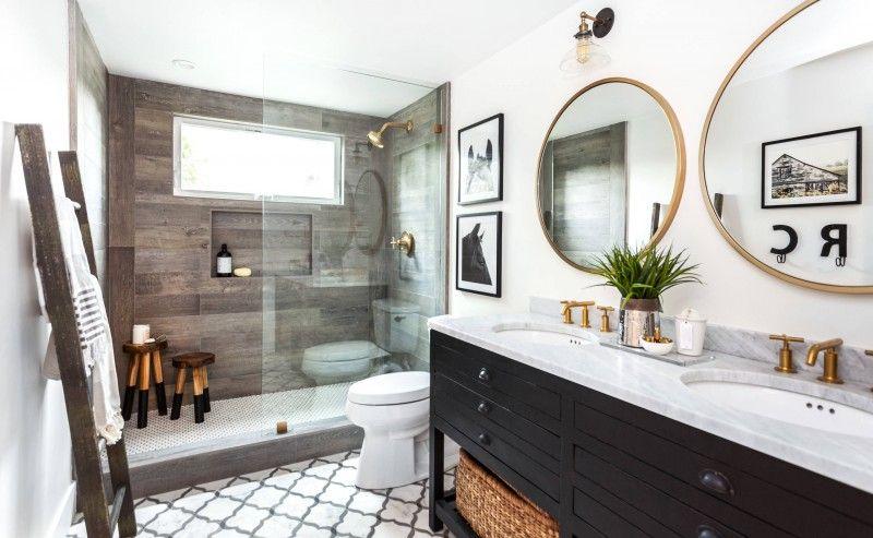 Grey Wall Accent Floor Double Round Mirror Black Vanity Granite Countertop Ladder Towel Rack Bath Stool Rain Shower Decoration Of Fabulous Ideas