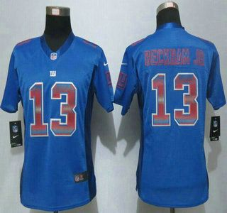 ... Womens New York Giants Jersey 13 Odell Beckham Jr Royal Blue Strobe 2015  NFL Nike Fashion 13 Mens ...