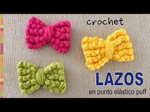 Lazos o moños tejidos a crochet en punto puff elástico - Tejiendo ...