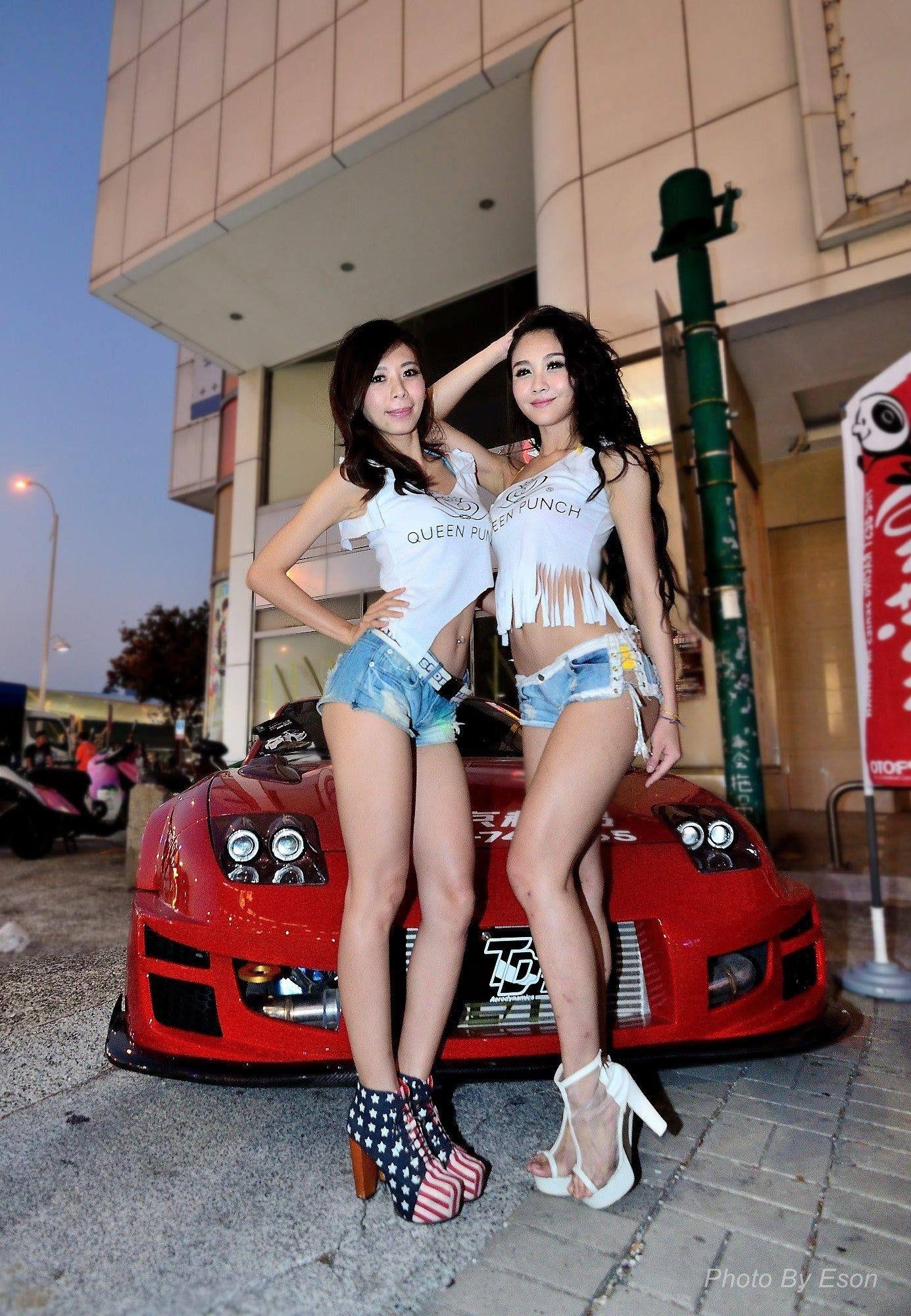 car hot night Asian event import models