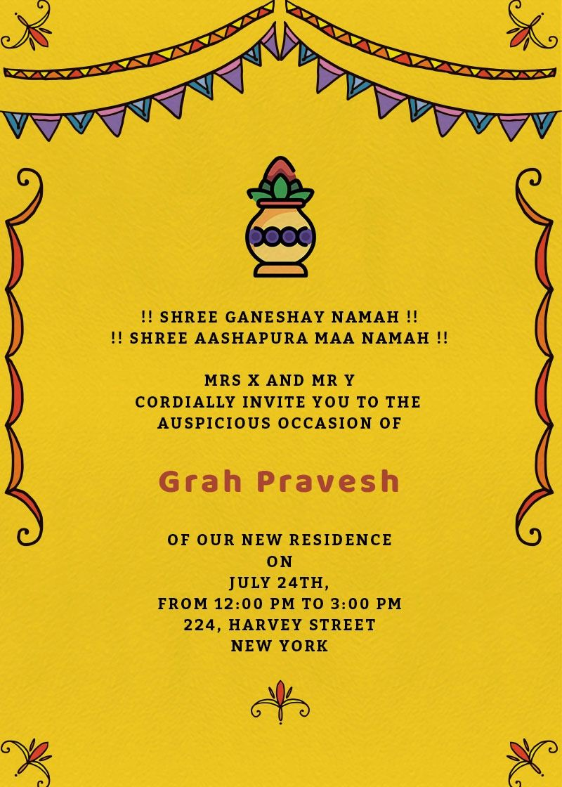 Grah Pravesh Colors Invitation Invites