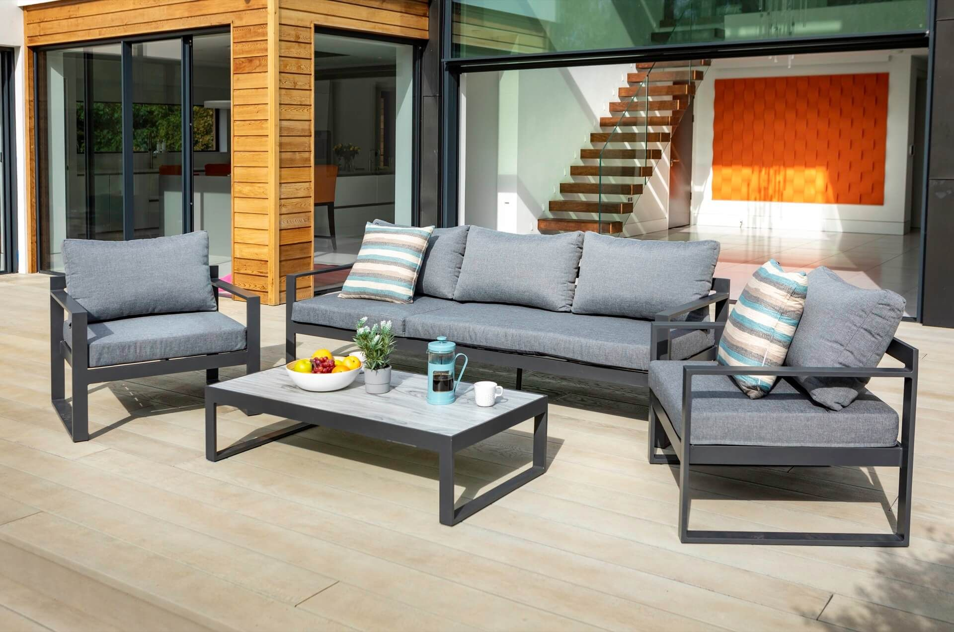 Vienna 3 Seat Lounge Set With Integrated Lounger Vienna Aluminium Garden Furnitu Aluminium Garden Furniture Outdoor Furniture Sofa Modern Outdoor Furniture