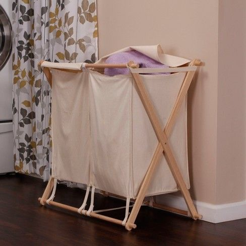 Household Essentials Wood X Frame Double Laundry Sorter Bathroom
