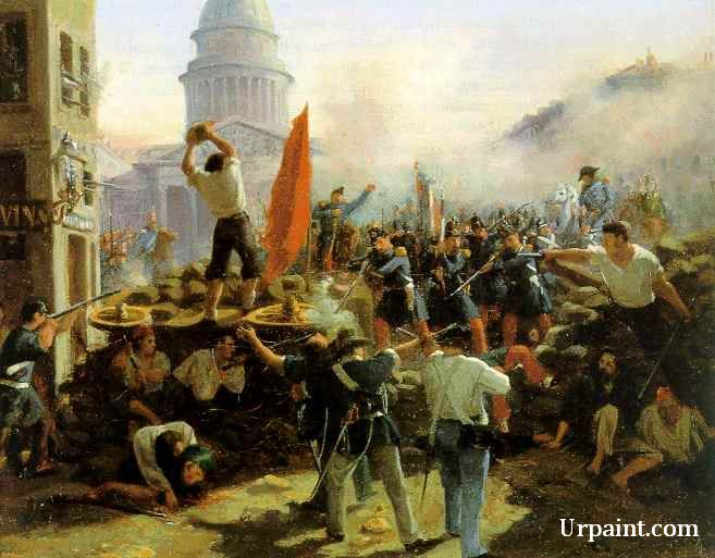 Street Fighting On Rue Soufflot Paris June 25 1848 French Revolution Painting Revolution