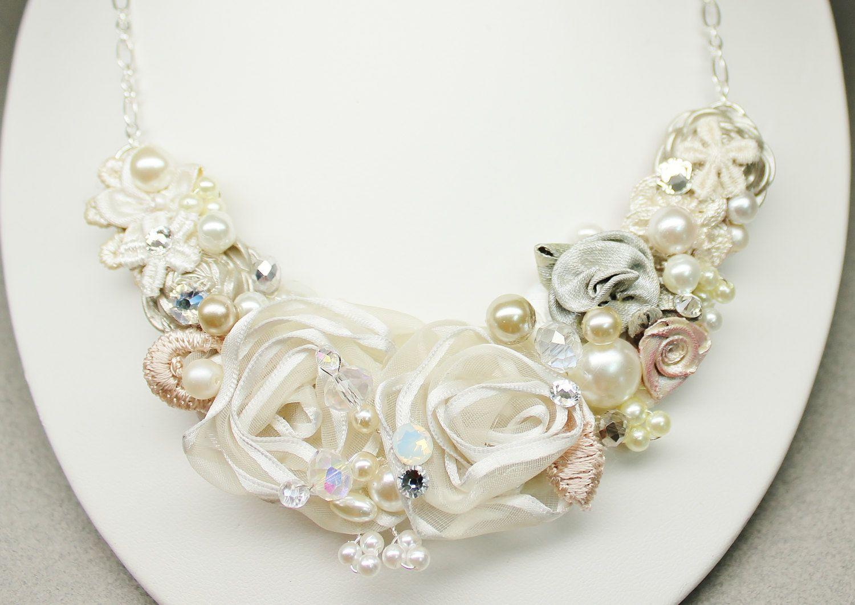 Floral Statement Necklace- Bridal Bib Necklace- Champagne Bridal ...