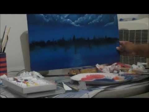 Moonlight sky speed painting