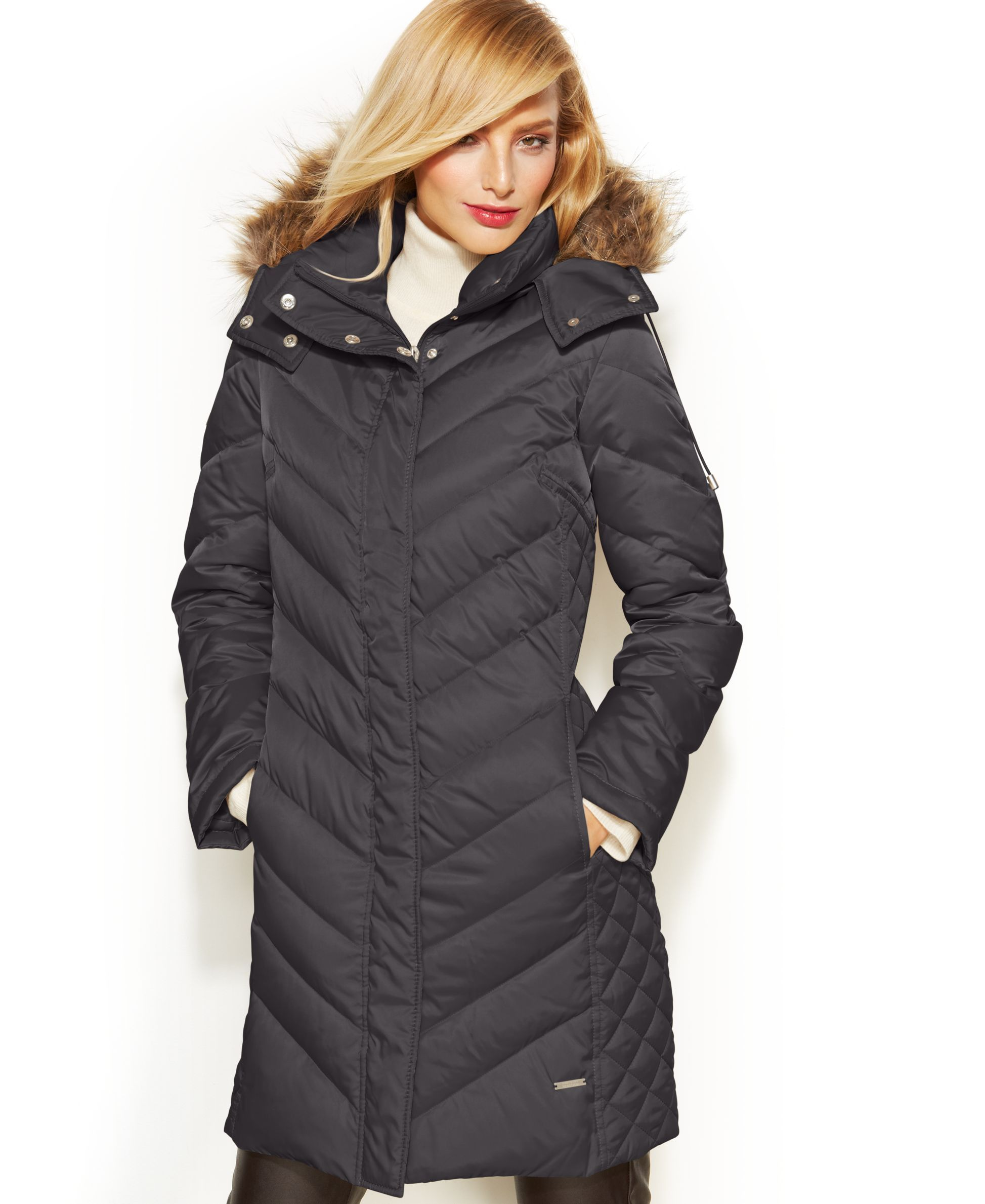e08115e852b6 Kenneth Cole Reaction Hooded Faux-Fur-Trim Quilted Down Puffer Coat ...