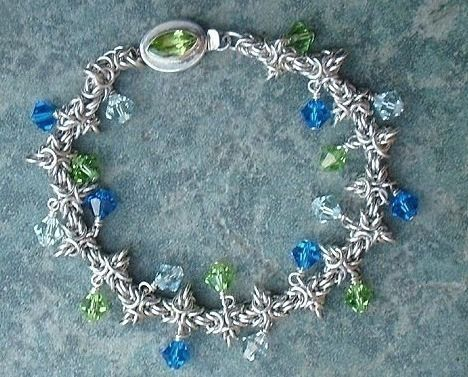 Chainmail Bracelet in Argentium Sterling Silver Swarovski Crystal Chainmaille