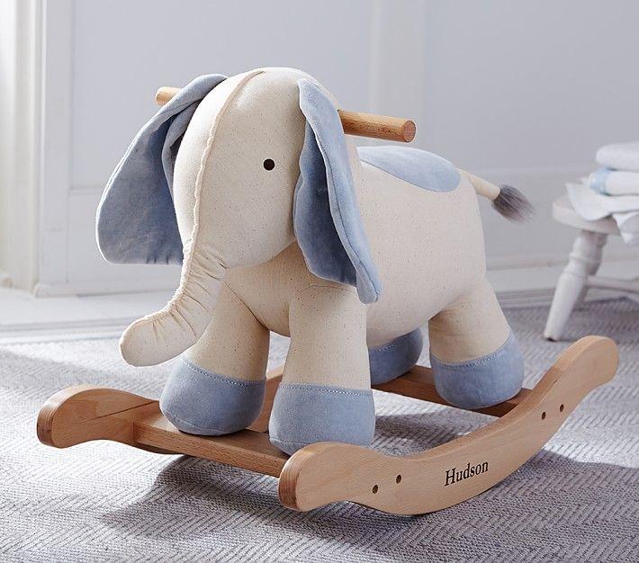 Elephant Linen And Velvet Plush Rocker Toy Rockers