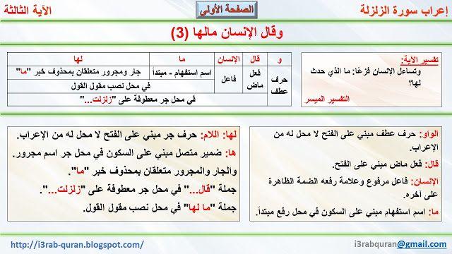 إعراب القرآن الكريم إعراب وقال الإنسان مالها 3 Periodic Table Airline Quran