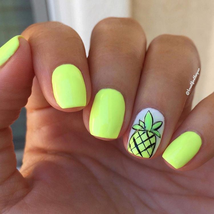 Nail Trends 2019 Cute And Bright Neon Yellow Summer Nails With