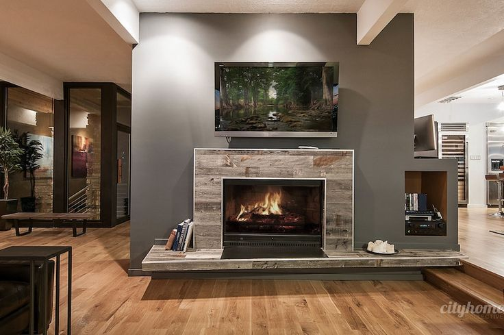 Wood Fireplace Surround With Floating Hearth Modern