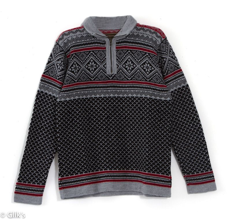 fe9d530963 Artesania Men s Quarter Zip Fair Isle Print Sweater in Gray and Red ...